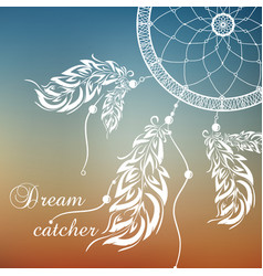 dream catcher sunset background vector image