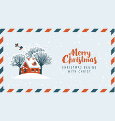 Envelope with snow-covered red house and trees vector