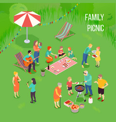 Family picnic isometric vector