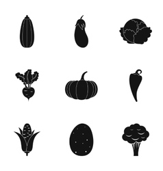 Farm vegetables icons set simple style vector
