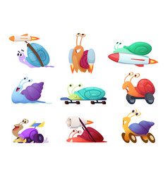Fast cartoon snails business concept characters vector