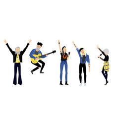 flat rock music people set vector image