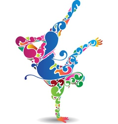Flourish break dancer vector