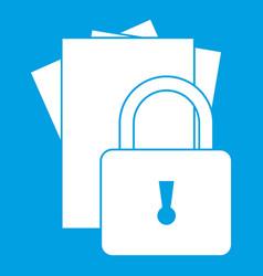 Folders with padlock icon white vector