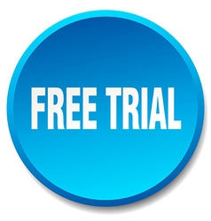 free trial blue round flat isolated push button vector image