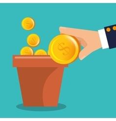 Garden pot of coins vector