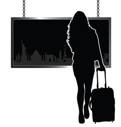 girl travel with famous monument vector image