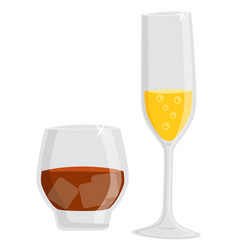 Glass alcoholic beverage champagne and rum vector