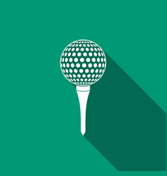 golf ball on tee icon isolated with long shadow vector image