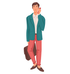 Grown man in suit talking phone businessman vector