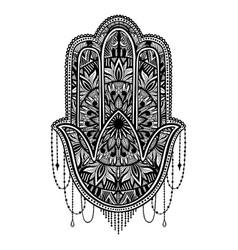 Hamsa talisman religion asian black color graphic vector