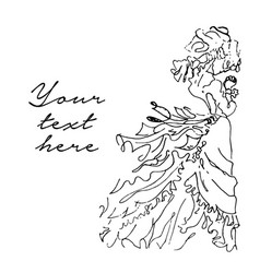 hand drawn of bride on white vector image