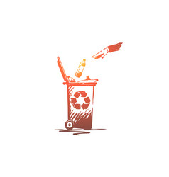 hand throwing plastic bottle into trash container vector image