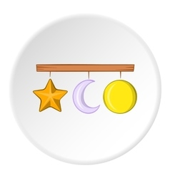 Hanging toys icon cartoon style vector
