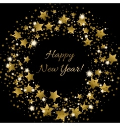 Happy New Year greeting card with golden vector image