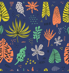 hawaii color hand drawn seamless pattern vector image