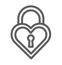 Heart shaped lock line icon love and locker vector