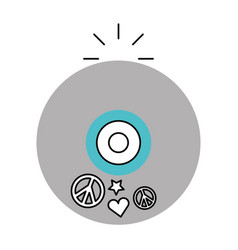 Hippie long play icon vector