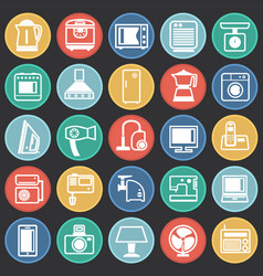 Home appliance icons set on color circles black vector