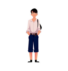 Japanese teenage schoolboy in typical uniform vector