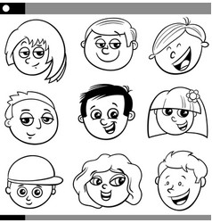 kids or teenagers characters set vector image