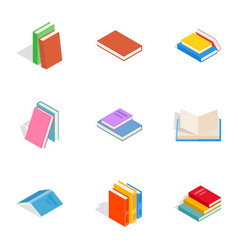 Learning icons isometric 3d style vector