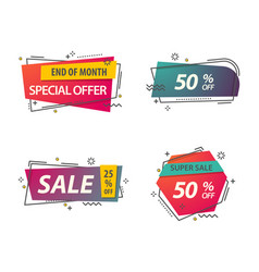 linear or geometric tags for discounts vector image