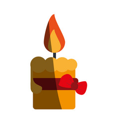 Lit candle with ribbon bow icon image vector