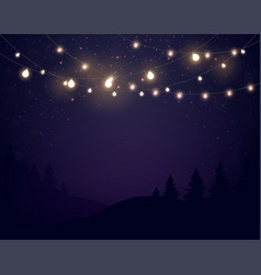magic lights on night dark blue sky with sparkling vector image