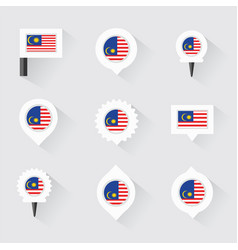 Malaysia flag and pins for infographic and map vector
