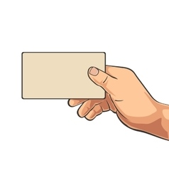 Male hand holding blank paper business card vector image colourmoves