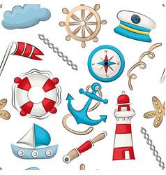 Marine nautical travel theme seamless pattern vector