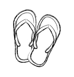 Monochrome sketch of beach flip-flops vector