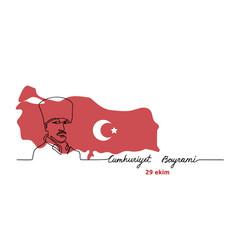 mustafa kemal portrait web banner with map vector image