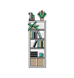 office bookshelf icon in linear style vector image
