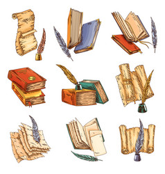 Old book set old open books with empty vector