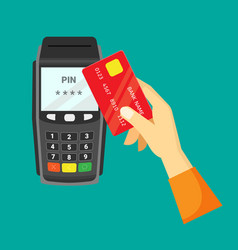 payment via cash register hand vector image