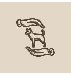 Pet care sketch icon vector