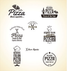 Pizza label set vector