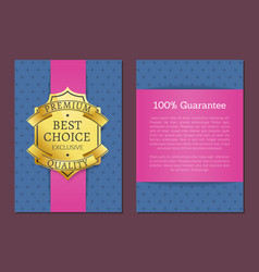 premium quality product golden label and banner vector image