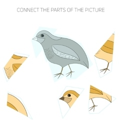 Puzzle game for chldren quail vector image