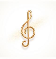 realistic golden metal treble clef vector image