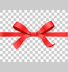 Red color satin bow knot and ribbon isolated on vector