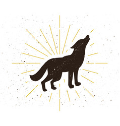 Retro standing howling wolf silhouette logo vector
