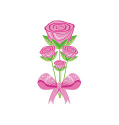 roses flowers with ribbon bow vector image