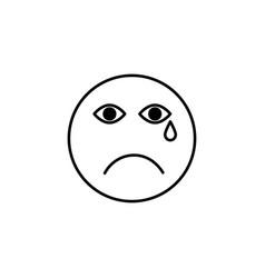 sad cry emoticon vector image