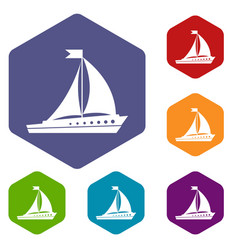 Sailing ship icons set vector