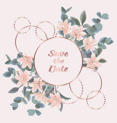 Save the date card with eucalyptus flowers and vector