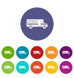 School bus set icons vector image
