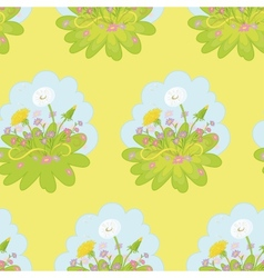 Seamless background dandelions flowers vector image